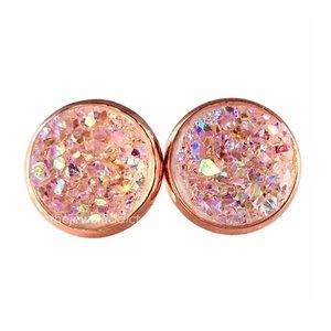 3 for 15🎀iridescent Crystal faux Druzy studs